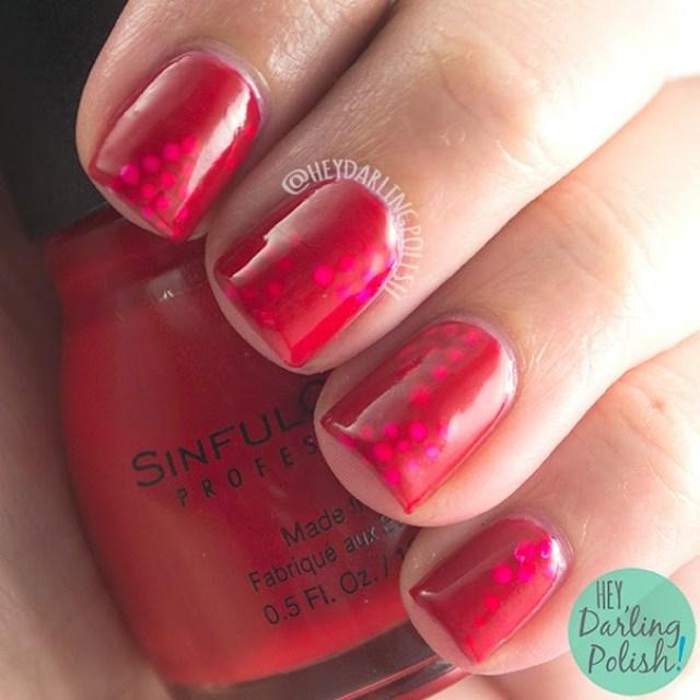 nails, nail art, nail polish, red, jelly, dots, hey darling polish, oh mon dieu part deux
