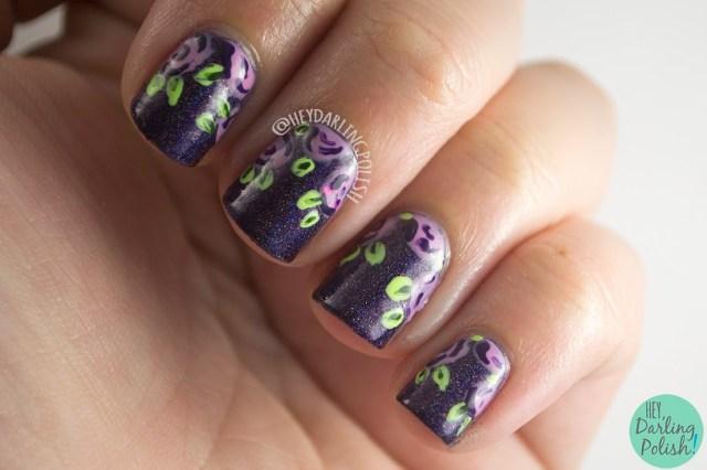 nails, nail art, nail polish, roses, tri polish challenge, palish, indie polish, hey darling polish