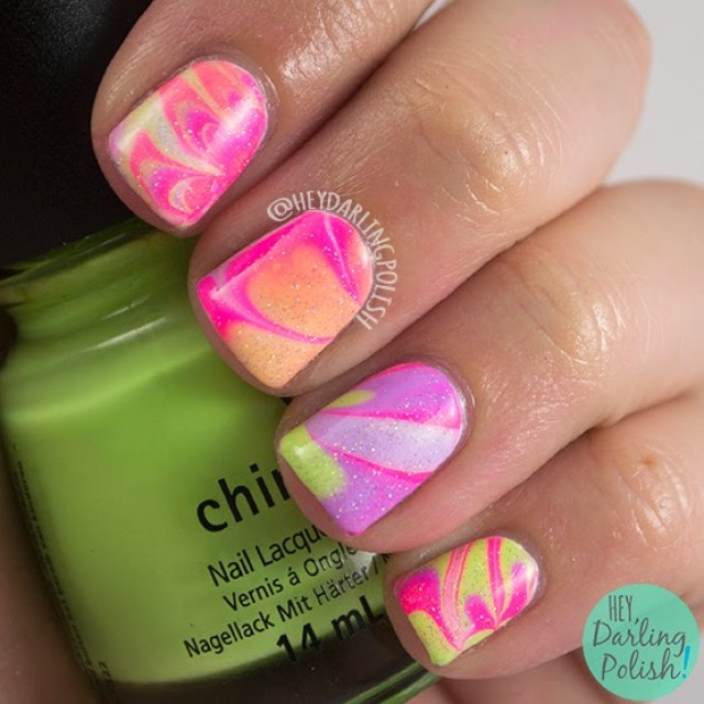 nails, nail art, nail polish, watermarble, pink, purple, green, neon, tri polish challenge, hey darling polish