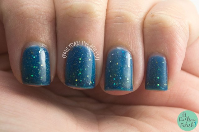 blue, teal, glitter, gold, the lake district, hey darling polish, amazing chic nails, swatch, review, nails, nail polish, indie, indie polish, indie nail polish