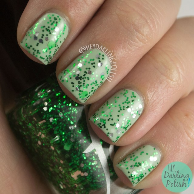 slytherin, green, cunning and resourceful, glitter, nails, nail polish, polish, indie polish, indie, harry potter, fandom cosmetics, swatch, hey darling polish