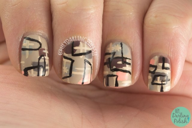 nails, nail art, nail polish, retro, pattern, theme buffet, freehand, hey darling polish, old,