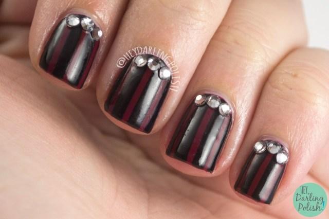 nails, nail art, nail polish, luxe lacquers, hey darling polish, red, black, stripes, rhinestones,
