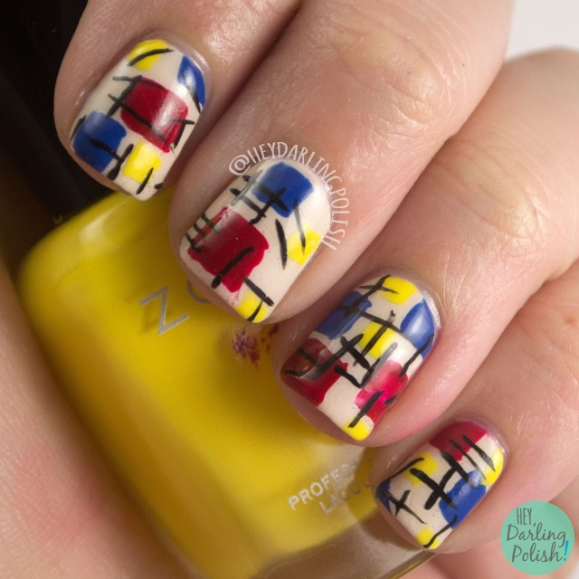 nails, nail art, nail polish, primary colors, rectangles, tri polish challenge, hey darling polish, freehand