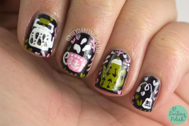 nails, nail art, nail polish, tea party, teapots, teacup, freehand, hey darling polish, the nail challenge collaborative