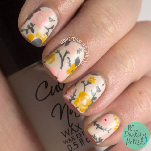 nails, nail art, nail polish, floral, flowers, acrylic paint, vintage, freehand, hey darling polish