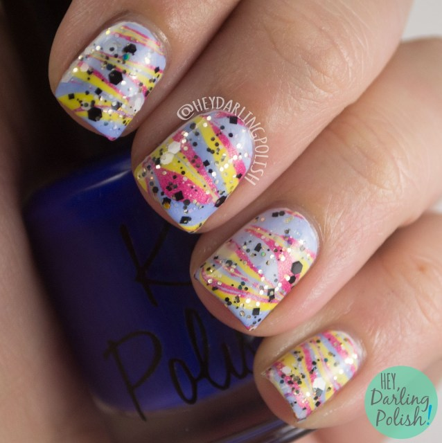 nails, nail art, nail polish, watermarble, primary colors, red, blue, yellow, glitter, hey darling polish, tri polish challenge, indie polish