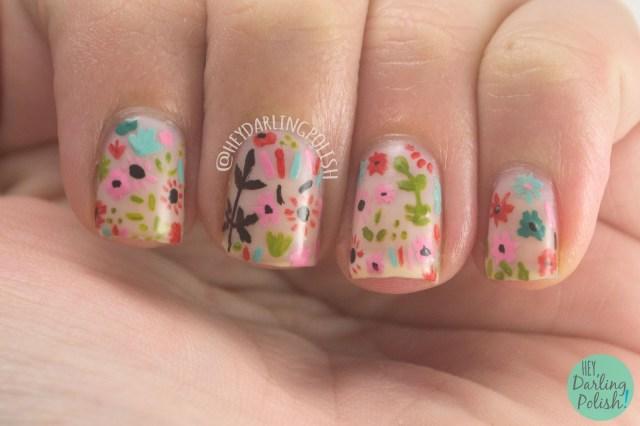 nails, nail art, nail polish, flowers, pattern, 31 day challenge, 31dc2014, hey darling polish