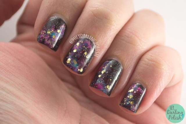 nails, nail art, nail polish, galaxy, galaxy nail art, hey darling polish, 31 day challenge, 31dc2014