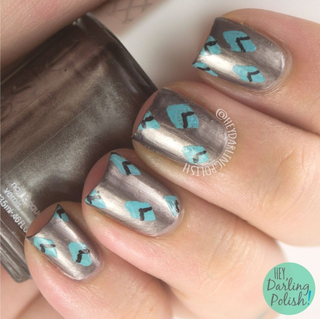 nails, nail art, nail polish, diamonds, pattern, hey darling polish, metallic, 31 day challenge, 31dc2014