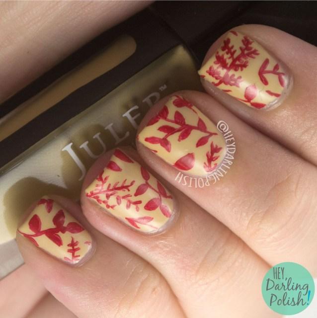 nails, nail art, nail polish, leaves, pattern, 31DC2014, 31 day challenge, hey darling polish, red, nature