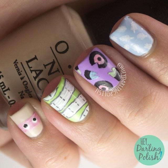 nails, nail art, nail polish, ain't it fun, paramore, hey darling polish, 31 day challenge, 31dc2014,