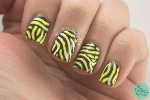 nails, nail art, nail polish, animal print, map puffer fish, hey darling polish, 31 day challenge, 31dc2014