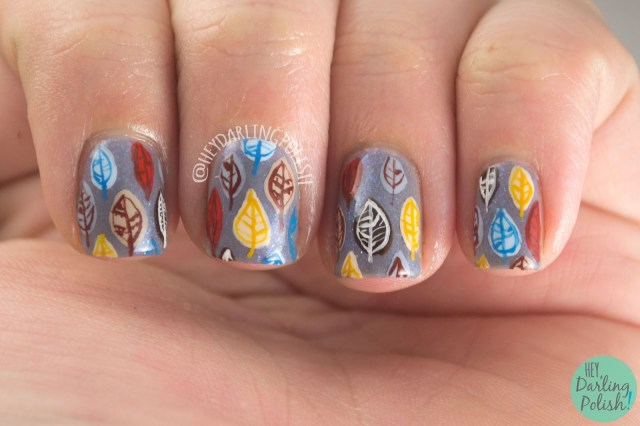 nails, nail art, nail polish, leaves, autumn, fall, lacquer legion,LLCrisp, pattern, hey darling polish