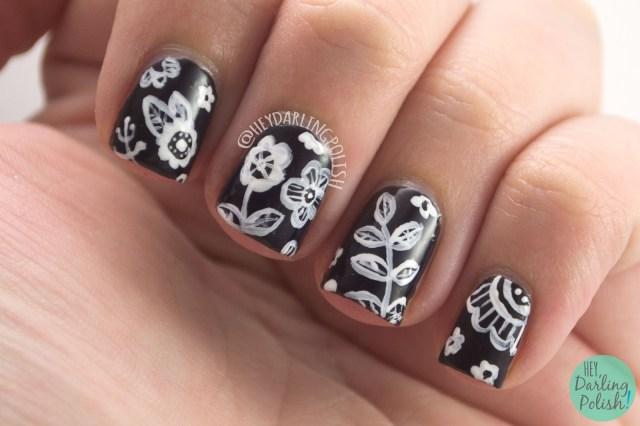 nails, nail art, nail polish, flowers, floral, black, white, hey darling polish, the nail art guild
