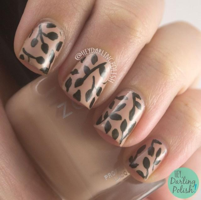 nails, nail art, nail polish, leaves, leaf, nature, nature nail art, hey darling polish, 31 day challenge, 31dc2014