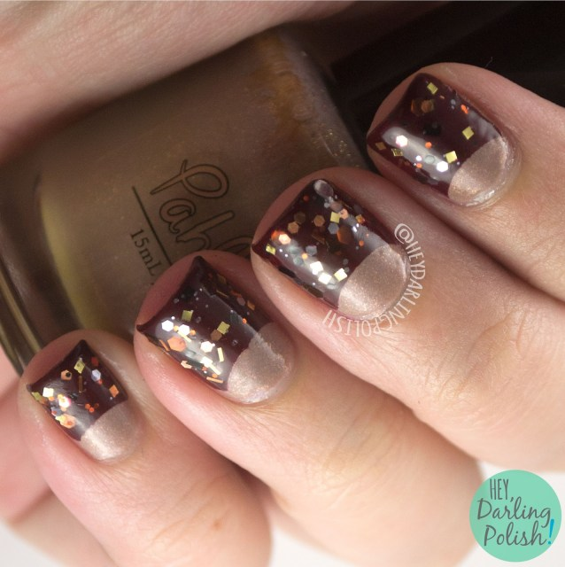 nails, nail art, nail polish, half moons, glitter, red, hey darling polish, 31 day challenge, 31dc2014