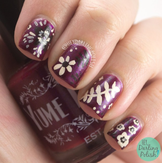 wine berry, flame warrior, floral, autumn, nails, nail art, nail polish, indie polish, yume lacquer, sailor moon,