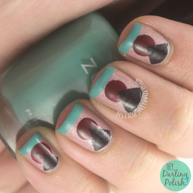 nails, nail art, nail polish, geometric, the nail challenge collaborative, hey darling polish, nail vinyl