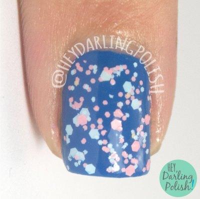 summer sorbet, glitter, blue, pink, nails, nail polish, indie polish, indie nail polish, live life polished, hey darling polish, farewell summer,