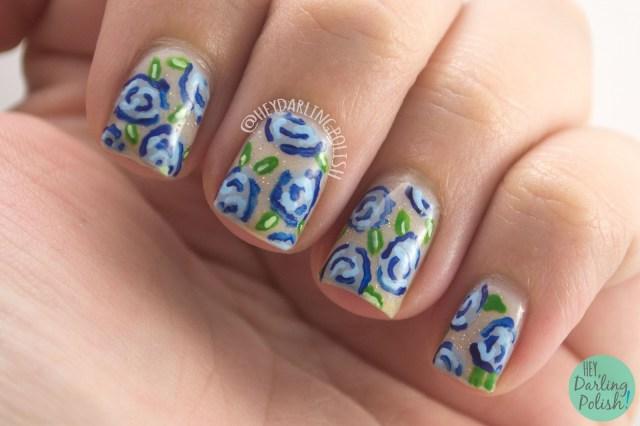 31dc2014, nails, nail art, nail polish, roses, flowers, rose nail art, hey darling polish, 31 day challenge,