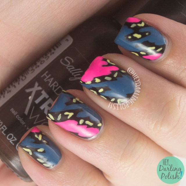 nails, nail art, nail polish, 80s, pattern, hey darling polish, neon, bright, manic monday,