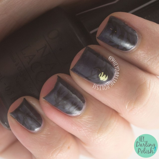 nails, nail art, nail polish, book of ghost stories, roald dahl, hey darling polish, trees, the nail challenge collaborative, books