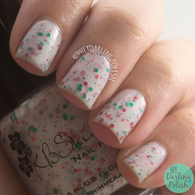 holly back girl, white, green, red, christmas, swatch, nails, nail polish, indie, indie polish, indie nail polish, kbshimmer, hey darling polish, glitter