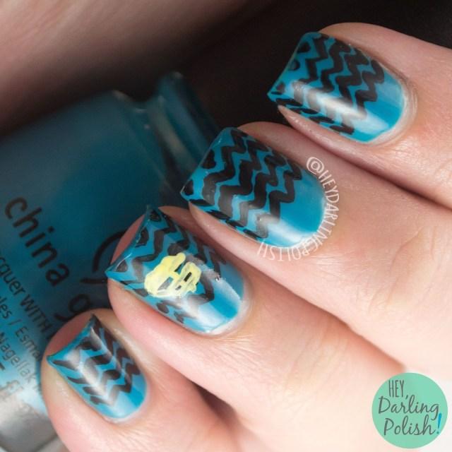 nails, nail art, nail polish, hey darling polish, the odyssey of homer, waves, zig zags, the nail challenge collaborative
