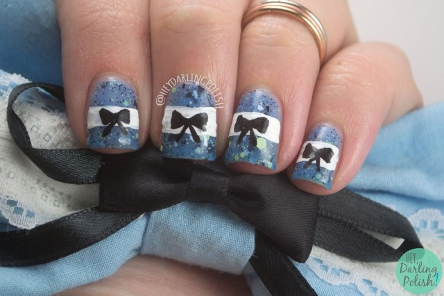 nails, nail art, nail polish, alice in wonderland, bows, lynbdesigns, down the rabbit hole, hey darling polish, blue, the nail art guild