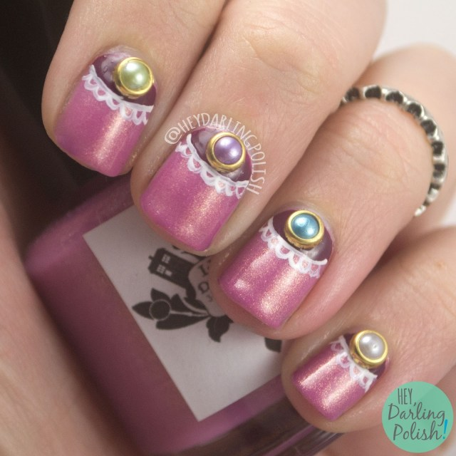 nails, nail art, nail polish, half moons, pearls, studs, born pretty store, hey darling polish, lace, free hand, review