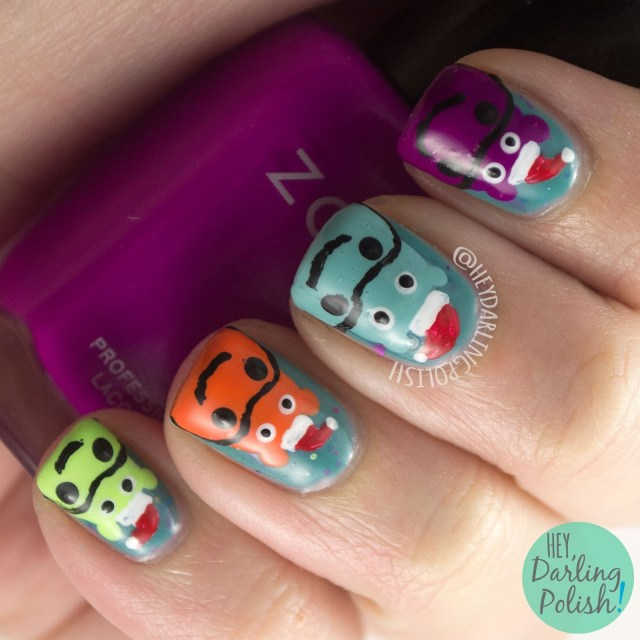 nails, nail art, nail polish, hey darling polish, christmas, christmas nail art, hippo, hippopotamus, the nail art guild, free hand
