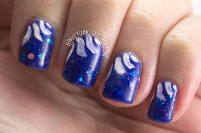 fallen angle, blue, glitter, triangles, baroque, nails, nail polish, indie nail polish, indie polish, kbshimmer, hey darling polish, winter 2014 collection