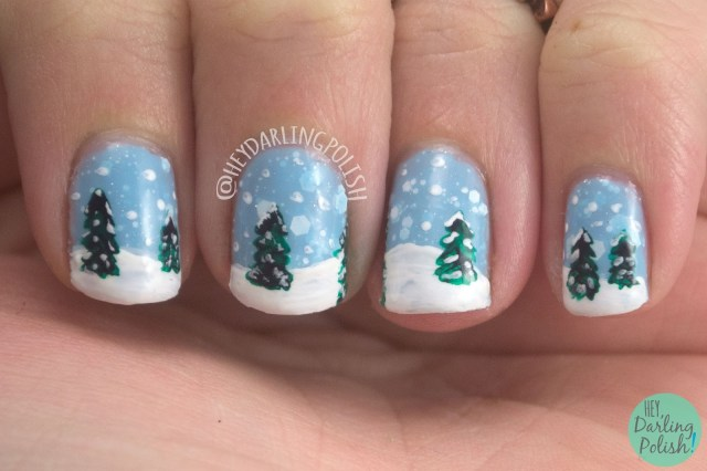 snow, nail art, trees, winter snow way!, nails, nail polish, indie, indie nail polish, indie polish, kbshimmer, hey darling polish, winter collection 2014, holiday
