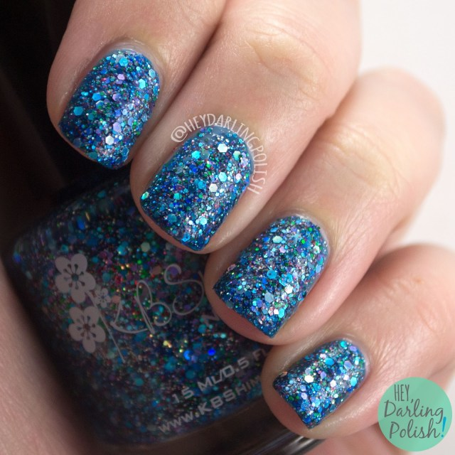 too cold to hold, blue, glitter, swatch, nails, nail polish, indie nail polish, indie polish, kbshimmer, hey darling polish, winter 2014 collection