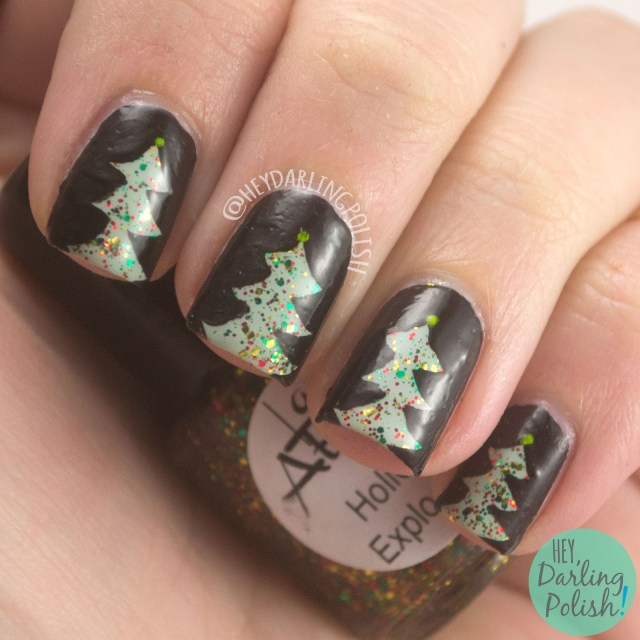 christmas, christmas trees, holiday explosion, nails, nail art, nail polish, indie polish, indie nail polish, hey darling polish, lac attack, festivus collection, holiday, christmas, festive