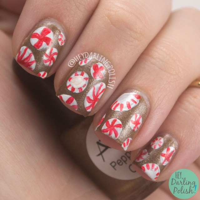 peppermint, peppermint cocoa, brown, candy, nails, nail art, nail polish, indie polish, indie nail polish, hey darling polish, lac attack, festivus collection, holiday, christmas, festive