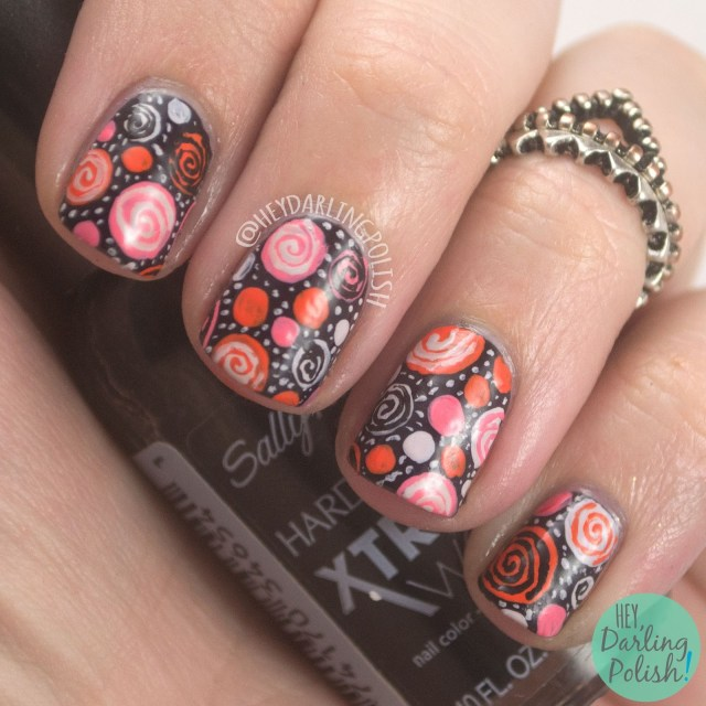 nails, nail art, nail polish, dots, polka dots, free hand, hey darling polish, the nail challenge collaborative, book, the penguin poets