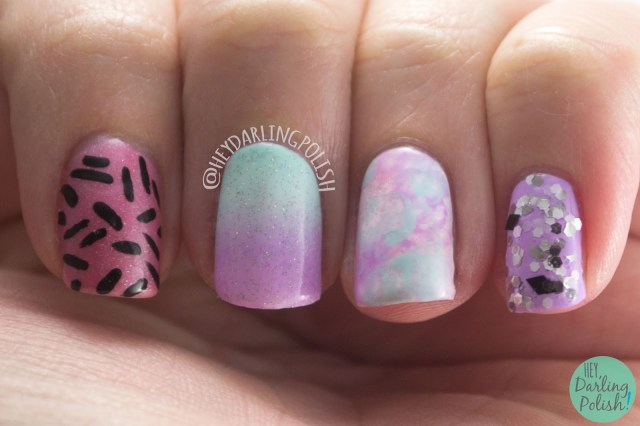 nails, nail art, nail polish, indie polish, pink, blue, purple, gradient, pattern, glitter, skittles, hey darling polish, lacquer legion, llreflection