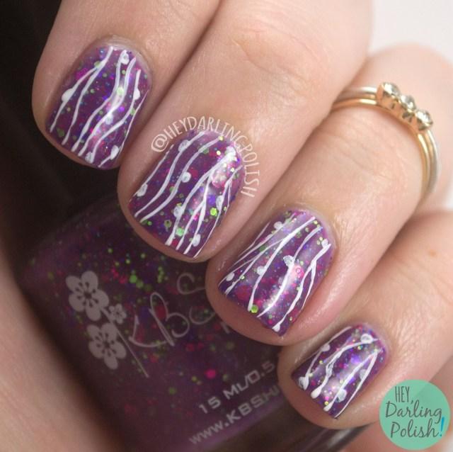 sugar plum faerie, lines, stripes, white, freehand, nails, nail art, nail polish, indie nail polish, indie polish, kbshimmer, hey darling polish, nail art, review, purple, glitter,