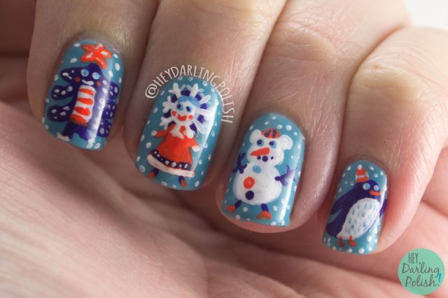 nails, nail art, nail polish, winter, holiday, penguin, christmas tree, snowflake, hey darling polish, hobby polish bloggers