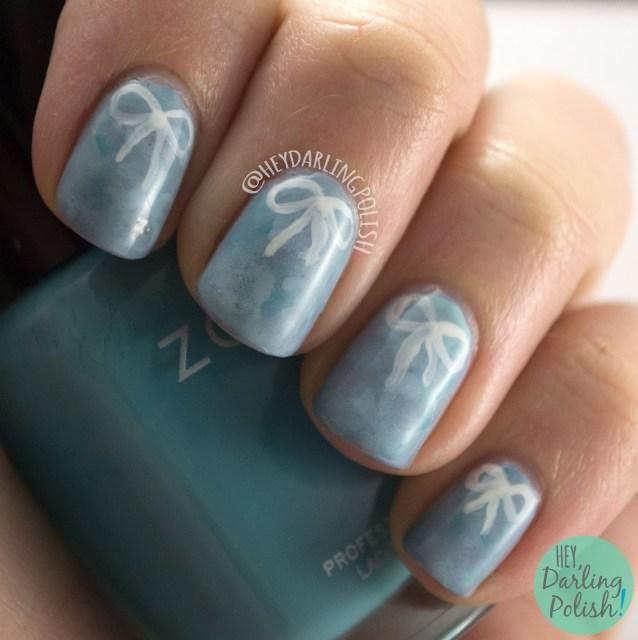 nails, nail art, nail polish, blue, bows, hey darling polish, watercolor, free hand, cute, pretty, 2015 cnt 31 day challenge