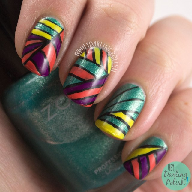 nails, nail art, nail polish, stripes, color, hey darling polish, 2015 cnt 31 day challenge