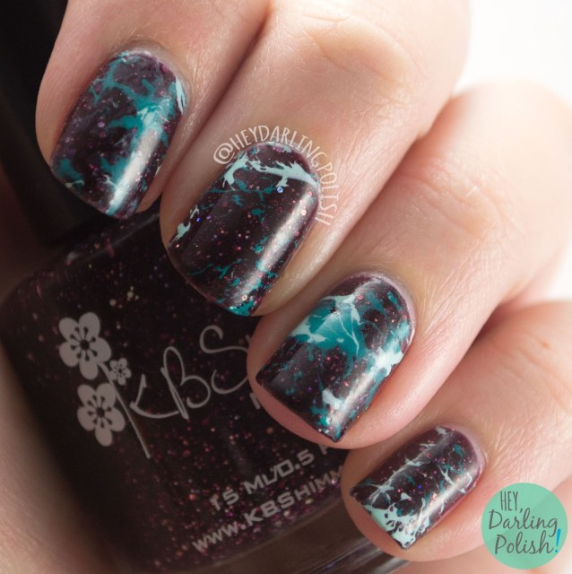 nails, nail art, nail polish, hey darling polish, glitter, water spotting, china glaze,