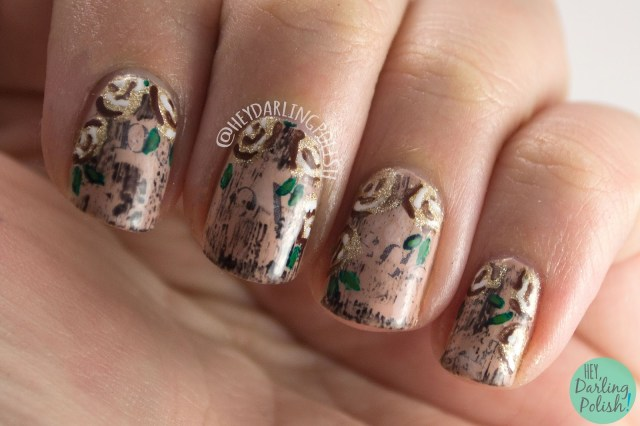 nails, nail art, nail polish, newspaper, roses, hey darling polish, nail linkup, flowers
