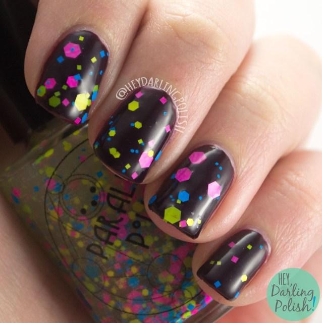 neon, glitter, science, noble gases, nails, nail polish, swatch, indie polish, indie, indie nail polish, parallax polish, hey darling polish