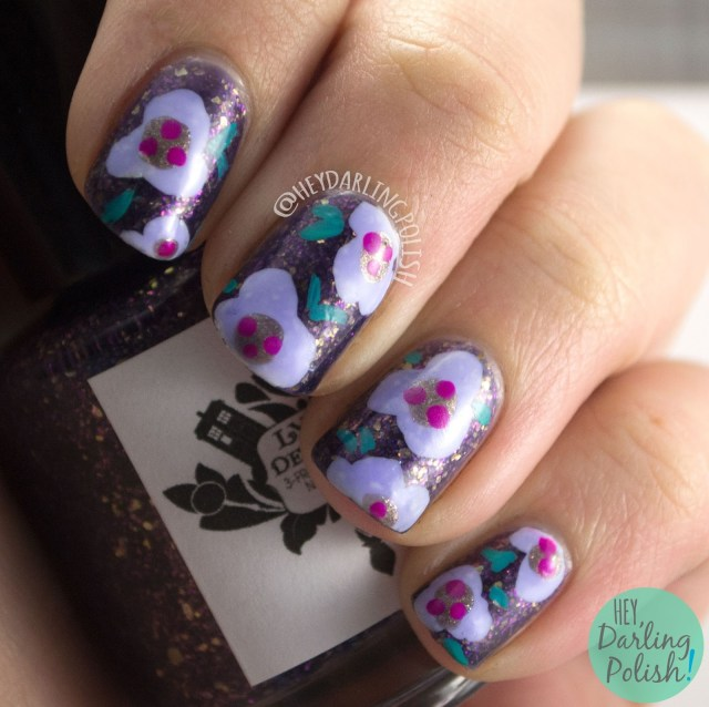 nails, nail art, nail polish, purple, floral, hey darling polish, indie polish, 2015 cnt 31 day challenge, flowers