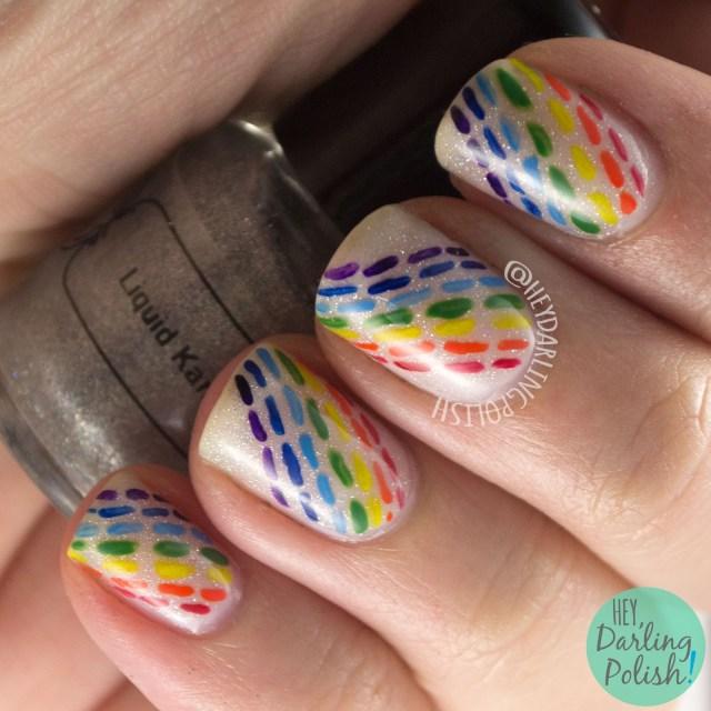 nails, nail art, nail polish, hey darling polish, rainbow, lines, dashes, 2015 cnt 31 day challenge