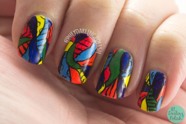 nails, nail art, nail polish, rainbow, bright, pattern, hey darling polish, 31 day challenge 2015,