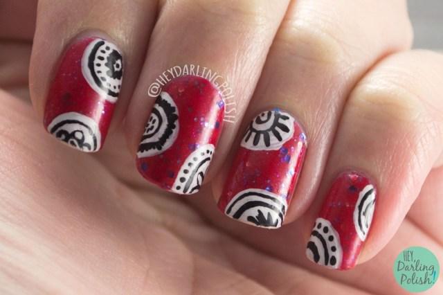 indie polish, nails, nail art, nail polish, red, hey darling polish, freehand, 2015 cnt 31 day challenge